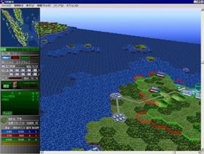 「大戦略VII」の戦場マップは、フルポリゴングラフィクスで描かれている。