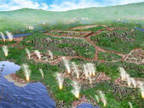攻撃の段階に応じて攻略が進む攻城戦画像